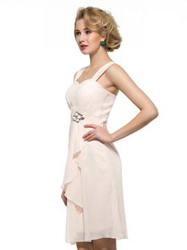 Straps Sweetheart Beading Knee-Length Column Mother of the Bride Dress with Jacket