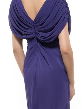 Pleated V-Neck Short Sleeve Long Mother of the Bride Dress