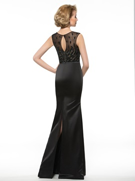 Floor Length Sheath Floral Sequined Black Mother of the Bride Dress