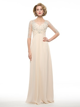 Floor Length A-Line Sweetheart Half Sleeve Mother of the Bride Dress