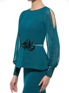 Scoop Neck Long Sleeve Lace Blue Mother of the Bride Dress