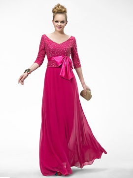 Elegant V-Neck Sashes Half Sleeves Lace A-Line Floor-Length Evening Dress