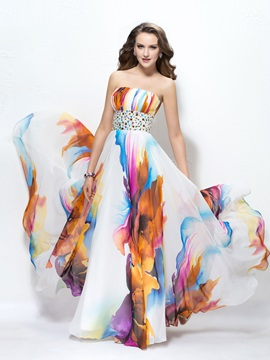 Amazing Strapless Ruched Beading Long Prom Dress Designed