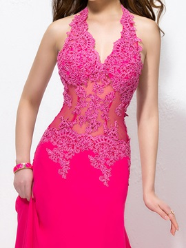 Glamorous V-Neck Halter Sheath Appliques Long Evening Dress Designed