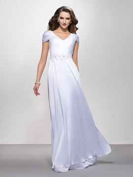 V-Neck Appliques Sequins A-Line Floor-Length Cap Sleeves Evening Dress