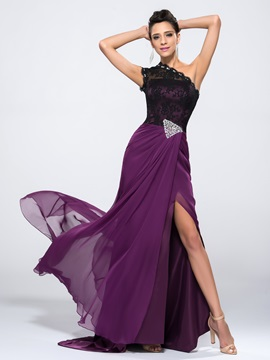 Enchanting One-Shoulder Beading Lace Split-Front Sweep Train Long Evening Dress