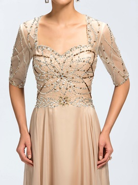 A-line Sequins Beading Backless Half Sleeves Long Evening Dress