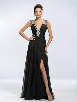 Backless V-Neck Beading Split-Front Zipper-up Long Evening Dress
