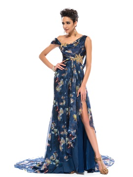 Elegant A-Line Split-Front Pattern Appliques Court Train Evening Dress Designed