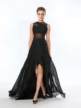 Classy Jewel Neckline Beading A-Line Sweep Train Asymmetrical Evening Dress