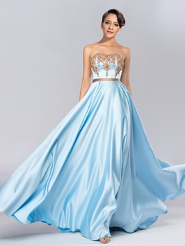 Strapless Appliques Beading Sashes Long Evening Dress