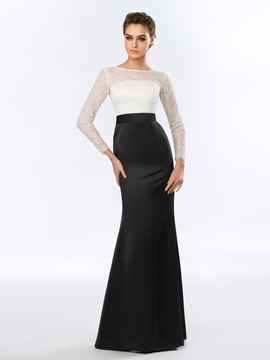 Elegant Bateau Neckline Mermaid Lace Floor-Length Evening Dress