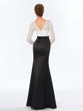 Bateau Mermaid Lace Floor-Length Evening Dress