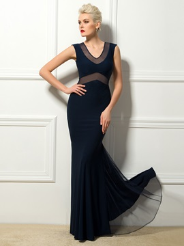 Sheer Back V-Neck Sheath Zipper-Up Long Evening Dress