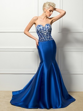 Bright Sweetheart Beading Pearls Mermaid Long Evening Dress
