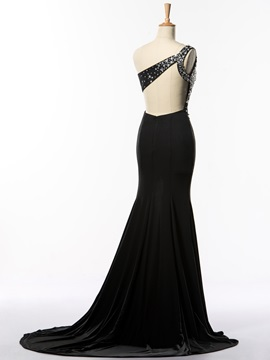 Super One Shoulder Sequin Beading Split-Front Long Black Evening Dress