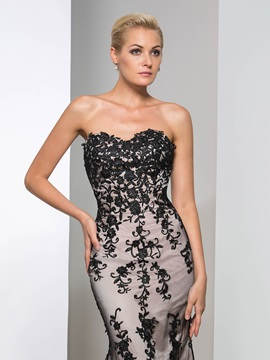 Elegant Sweetheart Sheath Appliques Long Evening Dress