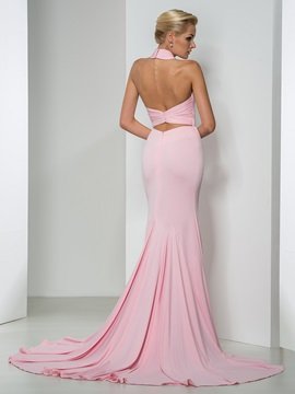 Sexy Backless Halter Hollow Long Mermaid Evening Dress