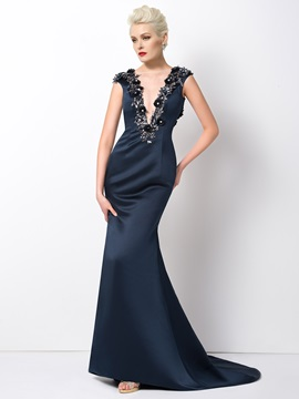 Mermaid V-Neck Appliques Court Train Long Evening Dress Designed