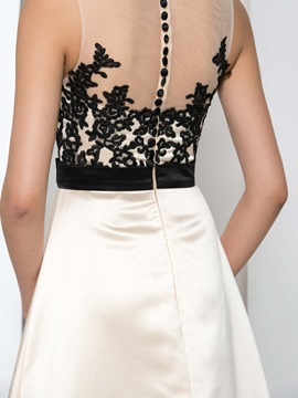 Amazing Sheer Neck Appliques Tiered High Low Evening Dress