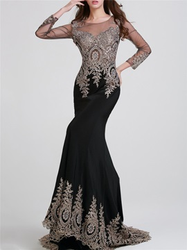 Sheer Back Long Sleeves Mermaid Black Appliques Long Evening Dress