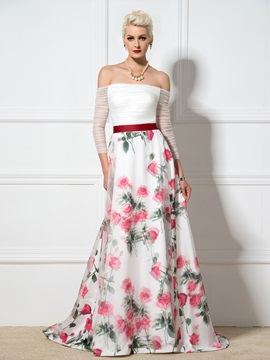 Stunning Off-the-Shoulder 3/4-Length Sleeves A-Line Lace-up Print Evening Dress