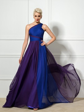 Casual One-Shoulder Pleats Ruffles A-Line Sweep Train Long Evening Dress