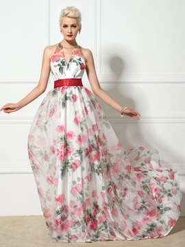 Halter V-Neck A-Line Long Floral Print Evening Dress