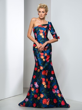 Graceful One Shoulder Half Sleeve Bowknot Court Train Long Printed Evening Dress