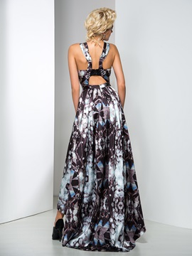 Modern Straps A-Line Beaded Asymmetrical Printed Evening Dress