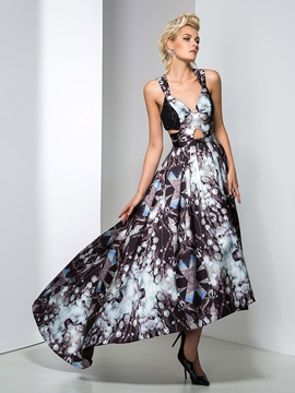 Straps A-Line Beaded Printed Evening Dress