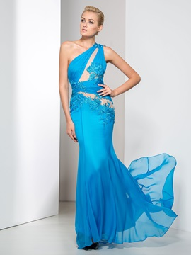 Modern One Shoulder Hollow Appliques Trumpet Evening Dress