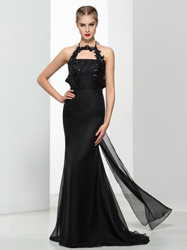 Sexy Halter Sequins Appliques Black Mermaid Evening Dress