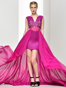 Amazing V-Neck Appliques Asymmetry Evening Dress
