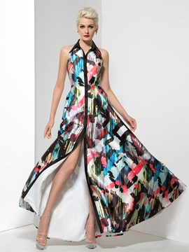 Unique Lapel Backless Button Long Printed Evening Dress