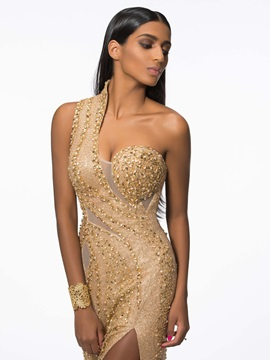 Luxurious One Shoulder Beading Sequins Evening Dress