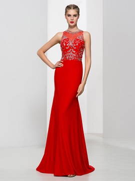 Amazing Jewel Neck Beading Sheath Red Evening Dress