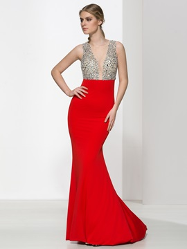Amazing Straps Beading Crystal Sheath Evening Dress