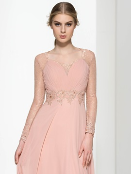Lace Long Sleeve Appliques Button Beading Evening Dress