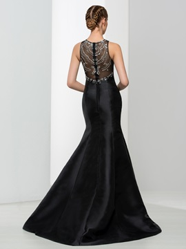 Beaded Long Black Mermaid Evening Dress