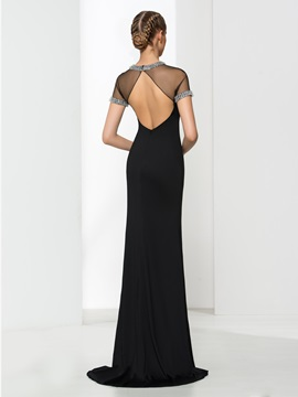 Sexy Backless Short Sleeves Jewel Neck Sheath Black Evening Dress