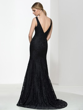 Classic V-Neck Straps Black Lace Evening Dress