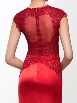 Ladylike V-Neck Cap Sleeves Lace Mermaid Evening Dress