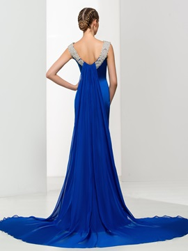 Amazing V-Neck Beading Watteau Train Long Evening Dress