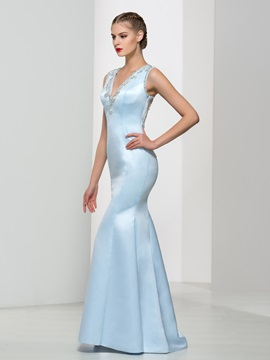 Amazing Beaded Back V-Neck Trumpet Evening Dress