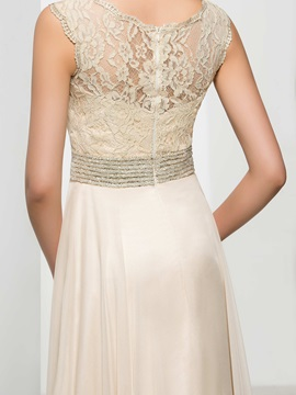 V-Neck Beaded Waist Lace A-Line Long Evening Dress