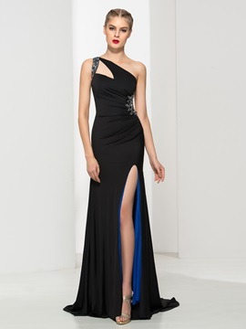 Sexy One Shoulder Beading Split-Front Sheath Black Evening Dress