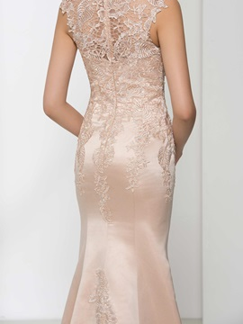 Graceful Straps Appliques Beading Trumpet Evening Dress
