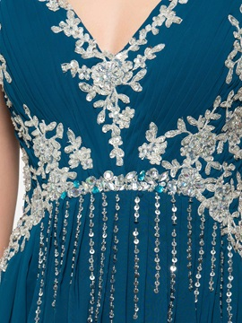 V-Neck Appliques Sequins Long Evening Dress
