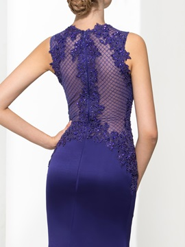 Graceful Jewel Neck Appliques Sequins Trumpet Evening Dress